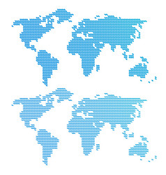 Blue wavy world map vector