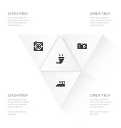 Icon appliance set of photocamera photo wire and vector