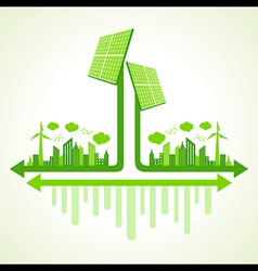 Ecology concept solar panel - vector image