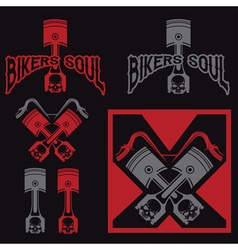 Biker theme labels with pistons and skulls vector