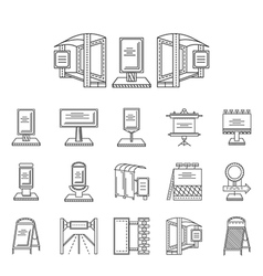 Outdoors advertisement line icons vector