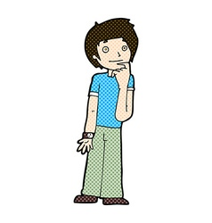 Comic cartoon boy wondering vector