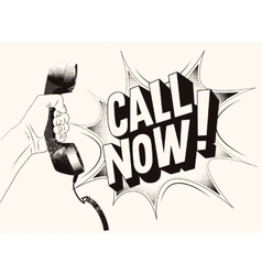 Call now typographic retro grunge poster vector