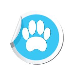 Animal footstep blue label vector