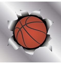 Basketball thru metal sheet vector