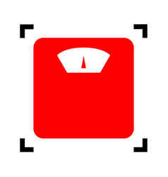 bathroom scale sign red icon inside black vector image