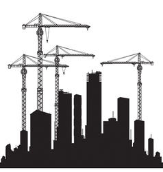 Buildings and cranes vector