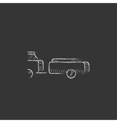 Car with trailer drawn in chalk icon vector