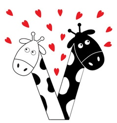 Cute cartoon black white giraffe boy and girl with vector