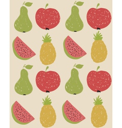 Doodle fruit pattern in retro colors vector image vector image