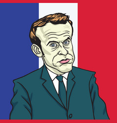 Emmanuel macron cartoon caricature portrait vector