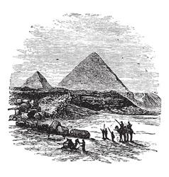 Giza pyramids vintage engraving vector