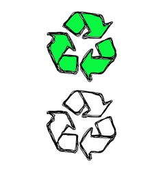 hand drawn doodles of recycle sign vector image vector image