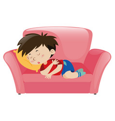 little boy napping on pink sofa vector image