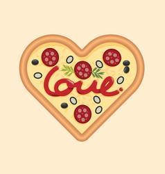 Love for pizza heart shape concept design for vector