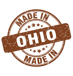 Made in ohio brown grunge round stamp vector