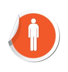 Man orange label vector