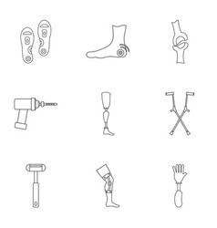 Orthopedic prosthetic icon set outline style vector