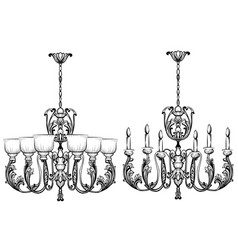 rich baroque classic chandelier luxury decor vector image vector image