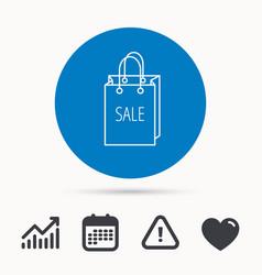 Sale shopping bag icon discount handbag sign vector
