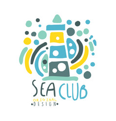 sea club logo design summer travel and sport hand vector image