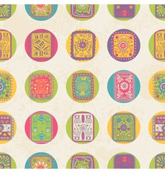 Seamless pattern with ethnic ornament polka dot vector image vector image