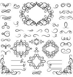 Set of curled calligraphic design elements vector image