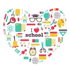 Set of school elements and subject in heart i love vector