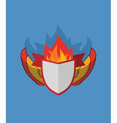 Shield with wings flame and ribbon heraldry vector
