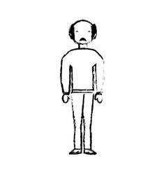 skecth man bald sad face vector image vector image