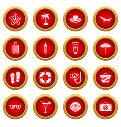 Summer rest icon red circle set vector