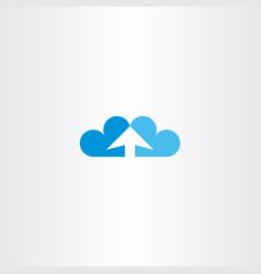 upload icon arrow heart cloud symbol vector image
