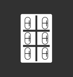 White icon on black background capsule pack vector