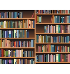 Wooden bookshelf vector