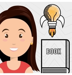 Woman books idea reading vector