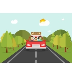 Happy family trip by car people characters in vector image
