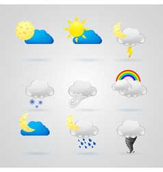 Collection of different color weather icons vector