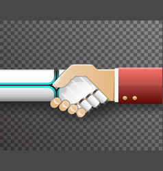 Robot businessman handshake innovation technology vector