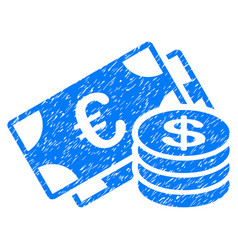 Euro and dollar cash grunge icon vector