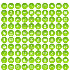 100 software icons set green circle vector