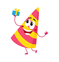 Birthday party hat character with smiling human vector