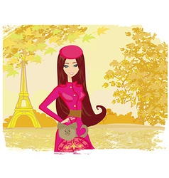 Paris in the autumn beautiful women shopping vector