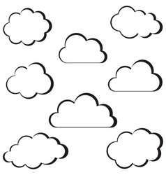 Black clouds outline vector