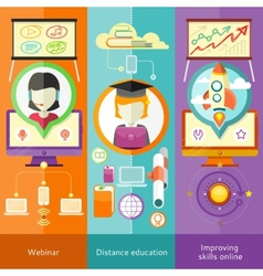 Webinar distance education and improving skills vector