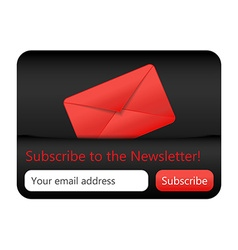 Dark subcribe to newsletter website element with vector