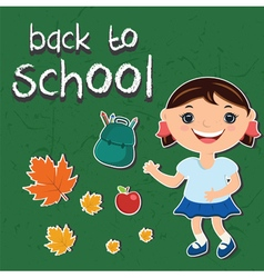 Stickers back to schoolwith a child backpack apple vector
