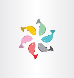 Fish in circle abstract symbol vector