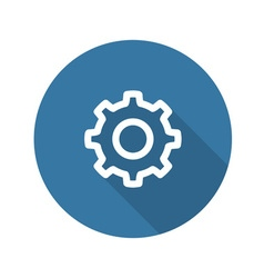 Settings icon gear with blue background vector