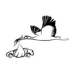 Stork and car vector
