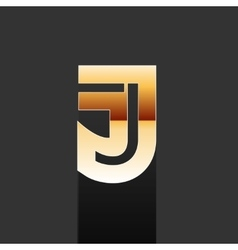 Gold letter j shape logo element vector